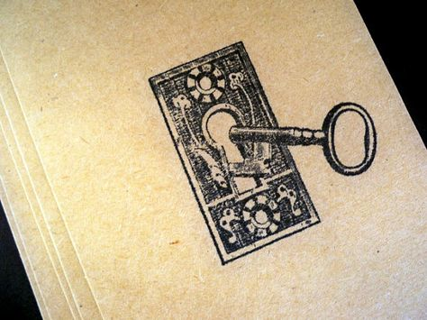 Skeleton Keys Note Card Set Steampunk Handstamped by AuriesDesigns, $7.00