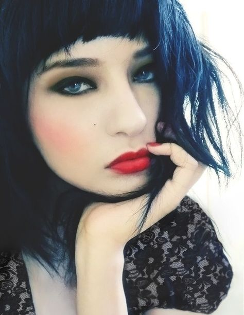 Blue Black Hair Portrait Photography Model Style Make Up Red