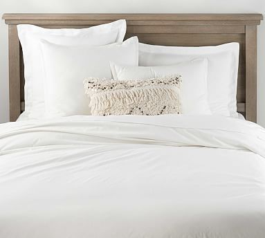 Spencer Washed Organic Percale Duvet Cover Shams White White