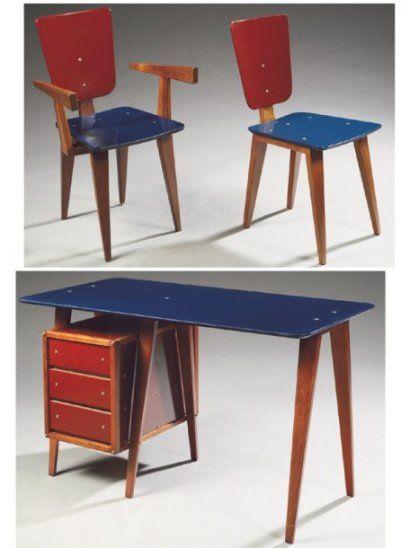 Marvelous André SORNAY (1902 2000) Ensemble Comprenant Un Bureau, Une Chaise Et Un