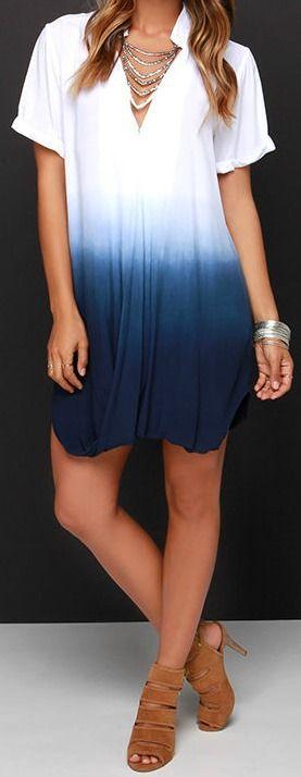 Take a Dip Ivory and Blue Dip-Dye Dress