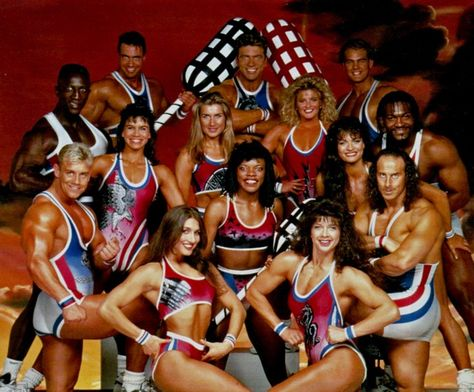 Gladiators with Ulrika Johnson. Best Saturday night tv ever as a kid! Me and my brother used to try and copy them in our living room. :)