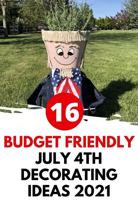 Quick DIY outdoor July 4thdecoration ideas. Easy diy dollar tree 4th of July decorations and crafts. #july4thdecorations #4thofjuly #july4th