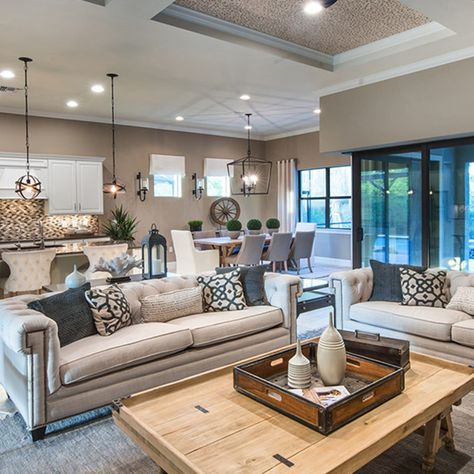 New Homes in Land O Lakes, Florida at Del Webb Bexley Home Living Room, Interior Design Living Room, Living Room Designs, Living Room Decor, Kitchen Living, Dining Room, Elegant Living Room, Modern Living, Great Rooms
