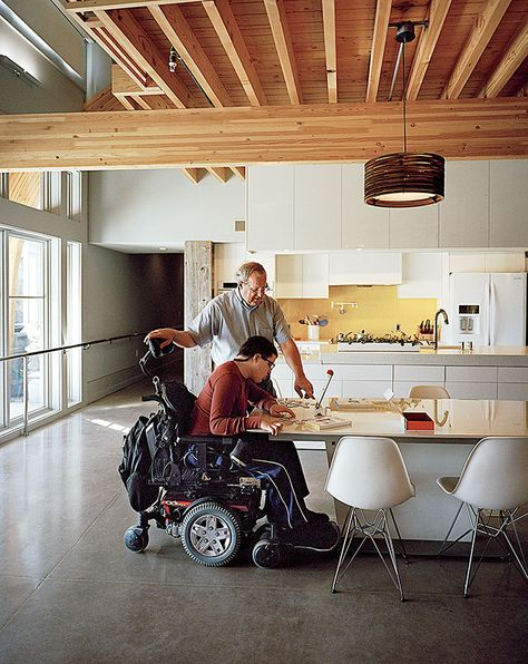 Articles About Impressively Accessible Home Has Tower Can Be Reached Wheelchair On Dwell Com Accessible House Accessible Kitchen Home