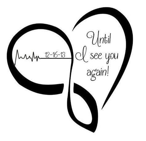 """Black heart with lettering """"Until I see you again!"""" inside. Good idea of memorial tattoo for mother or father. Color: Black. Tags: Father, Mother, Meaningful"""