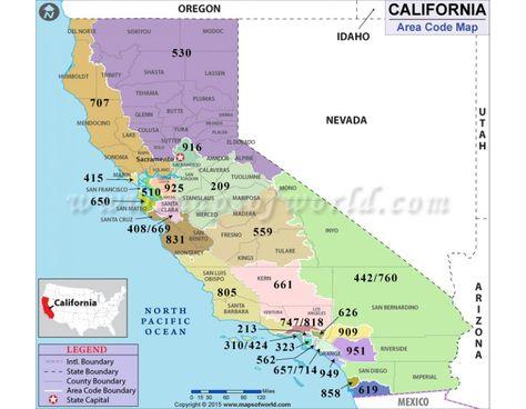 Buy California Area Code Map | California map, Area codes, Map
