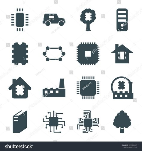 Semiconductor icons. set of 16 editable filled semiconductor icons such as cpu set#Semiconductor#icons#semiconductor