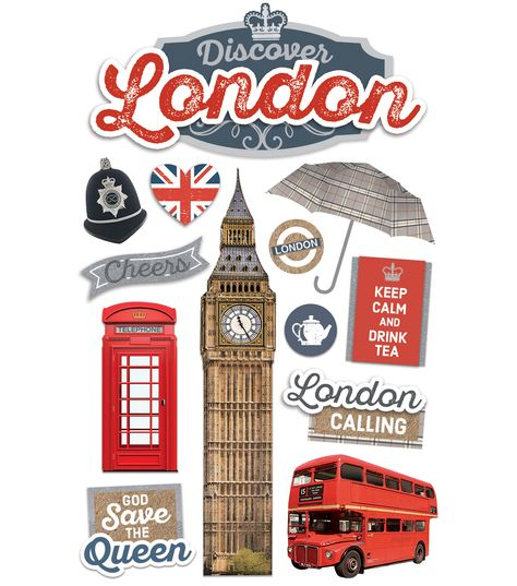 Paper House® 4.5''x8.5'' 3D Stickers - Discover London