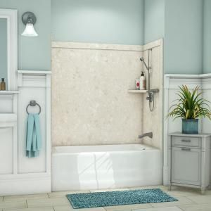 Delta Upstile 32 In X 60 In X 60 In 3 Piece Direct To Stud Alcove Tub Surround With Customizable Design In White B66414 6032 Wh The Home Depot Tub Surround Shower Wall Bathtub Surround