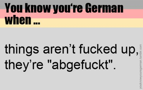 Du weißt, dass du deutsch bist, wenn … Dinge nicht fucked up sind, sondern abgefuckt. (Submitted by yetuntitledblog)