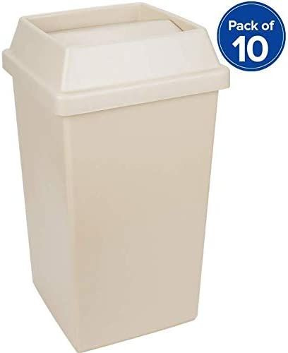 Pack 10pc 25 Gallon Beige Square Trash Can And Tip Top Lid Set Trash Bag Included Perfect Use In Home Hospital Nurs In 2020 Outdoor Trash Cans Trash Can Trash Bag