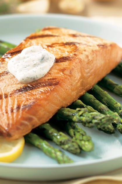Grilled Salmon With Lemon Dill Sauce Daisy Brand Sour Cream Cottage Cheese In 2020 Grilled Salmon Lemon Dill Sauce Summertime Recipes