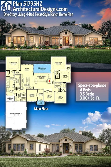 Plan 51795hz One Story Living 4 Bed Texas Style Ranch Home Plan Craftsman House Plans Ranch House Plans Dream House Plans