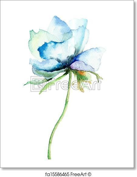 Free Art Print Of Decorative Blue Flower Watercolor Flowers