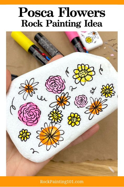 "Hand Painted Rock Spring Flowers 2.2/"" to 2.7/"" Rock Painting RP56 Your Choice"