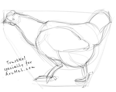 drawings of huts | How to draw a hen step by step
