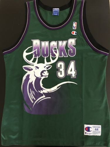 reputable site 239a6 08525 Rare Vintage Champion Ray Allen Milwaukee Bucks Jersey Size ...