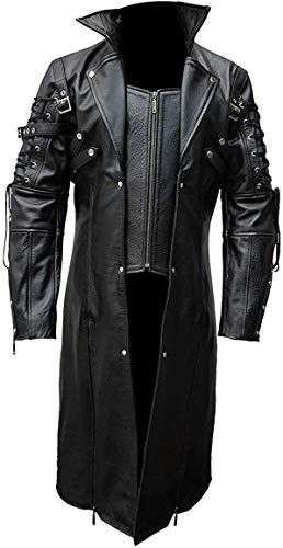 MENS GENUINE LEATHER STEAMPUNK GOTHIC MATRIX  STYLE TRENCH COAT