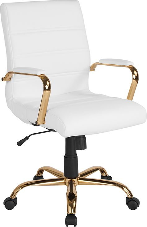 Find Flash Furniture Mid-Back White Leather Executive Swivel Office Chair Gold Frame Arms - online. Shop the latest collection of Flash Furniture Mid-Back White Leather Executive Swivel Office Chair Gold Frame Arms - from the popular stores - all in one White Desk Chair, Swivel Office Chair, Home Office Chairs, Home Office Space, Home Office Design, At Home Office Ideas, Cool Desk Chairs, Office Inspo, Office Desks