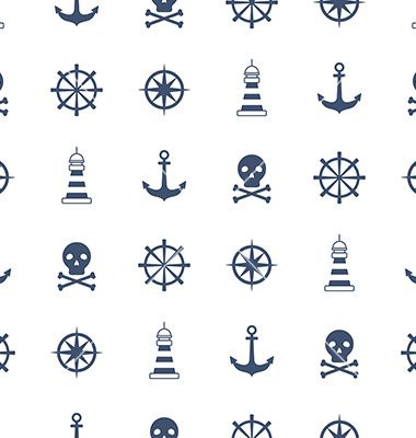 Seamless pattern with nautical symbols vector by Julia_Henze on VectorStock®
