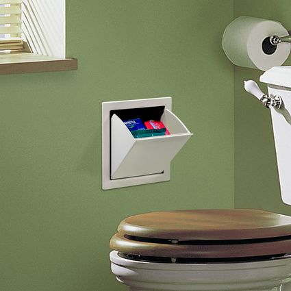 Easily installed into a wall to hold personal hygiene items. Genius!