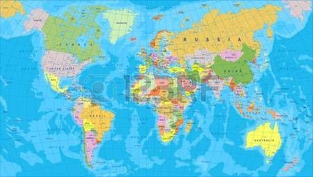 Mapa Del Mundo De Color Bordes Paises Y Ciudades Ilustracion