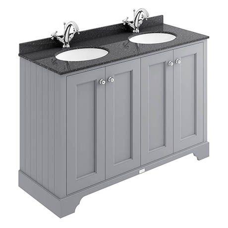 Bayswater Plummett Grey 1200mm 4 Door Vanity Unit 1th Black Marble Double Bowl Basin Top Double Sink Vanity Sink Vanity Unit Bathroom Basin Cabinet