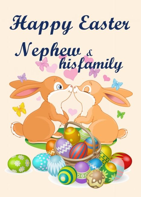 Happy Easter Nephew His Family Bunnies Eggs Card Ad Affiliate Nephew Easter Happy Family Egg Card Easter Wishes Happy Easter