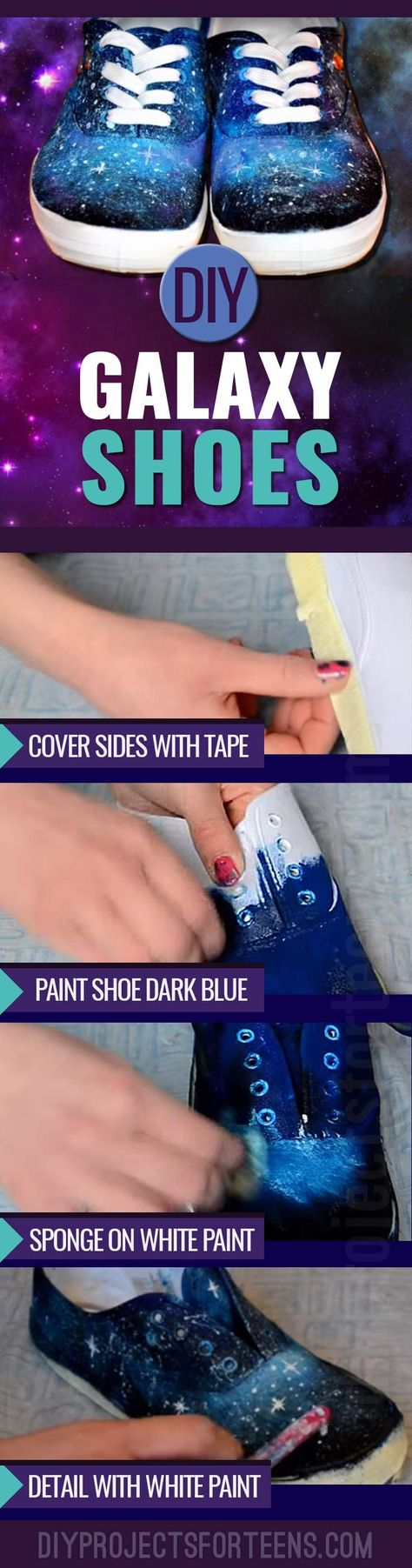 Cool Crafts for Teens to Make - Fun DIY Idea for Galaxy Shoes - Teenagers and Tweens Love this Awesome Craft Project http://diyprojectsforteens.com/diy-galaxy-shoes/