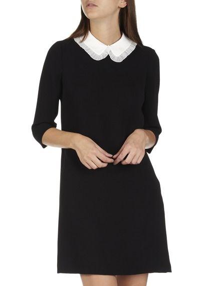 11720c6a2262b Robe courte droite à col claudine amovible Reminiscence Noir by CLAUDIE  PIERLOT