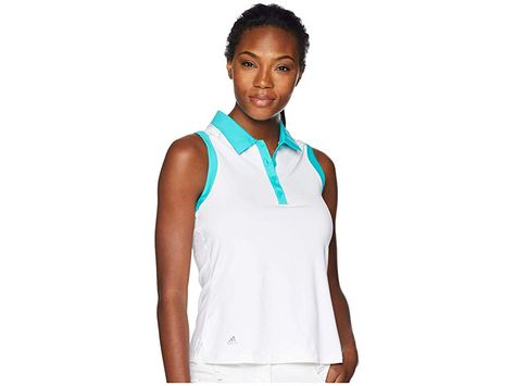 e1f8e6f8c0e468 adidas Golf Ultimate Two-Tone Sleeveless Polo (White) Women s Clothing. Add  some necessary flare to the golf-course green when you tee up in the adidas  Golf ...