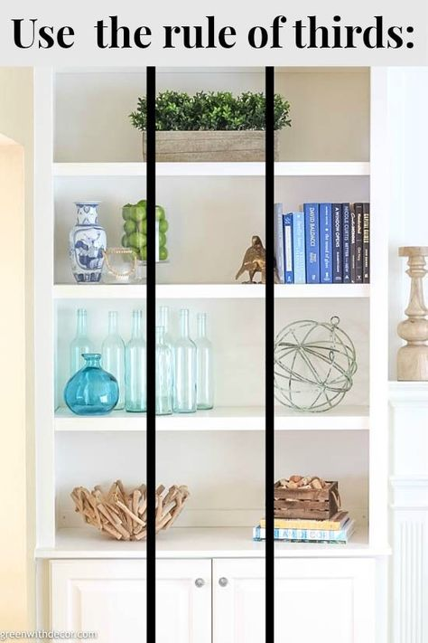 Wow, these bookshelves are GORGEOUS! This post walks through how to decorate bookshelves from start to finish and has plenty of bookshelf decorating ideas if Styling Bookshelves, Decorating Bookshelves, Bookshelf Design, Bookshelves Built In, Bookshelves In Living Room, Bookshelf Ideas, Book Shelf Decorating Ideas, How To Decorate Bookshelves, Organize Bookshelf
