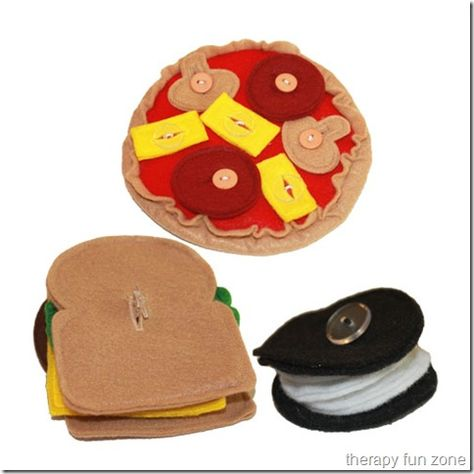 felt button food to practice buttoning during pretend play. also used for sequencing, pretend play, early constructive play, & socialization