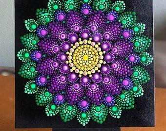 Flower Burst Dot Mandala On Black 6 X 6 Canvas Board Blue Magenta Turquoise Mandala Canvas Dot Art Painting Mandala Painted Rocks