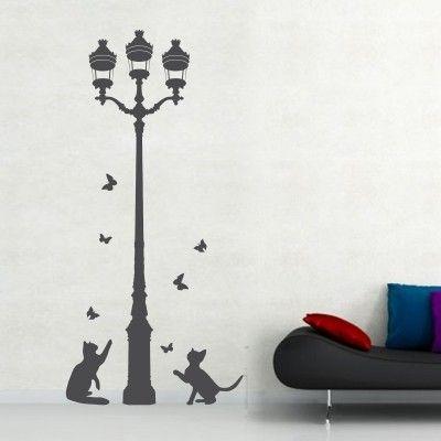 Adesivi Murali Con Gatti.Adesivo Murale Gatti Con Lampione Adesivi Murali Animali