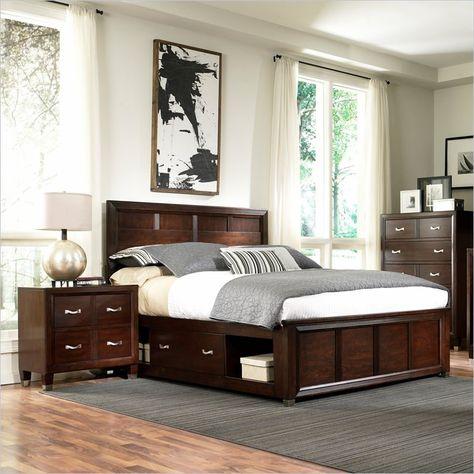 Lowest price online on all Broyhill Eastlake 2 Double Storage 3 Piece Bedroom Set in Brown Cherry - 4264-3Pc-PanelDoubleStorageBed-Set