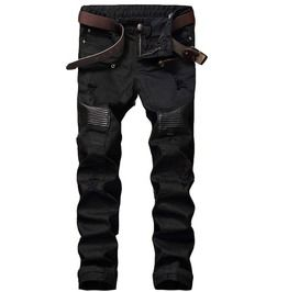 Cheap mens ripped biker jeans, Buy Quality biker jeans directly from China ripped biker jeans Suppliers: NEW Hi-Street Men Ripped Biker Jeans Pants Leather Patchwork Distressed Denim Slim Fit Straight Trousers Red White Black Jean