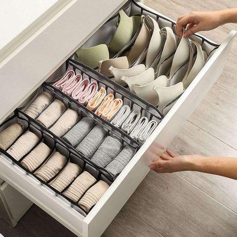 Closet Underwear Organizer - Grey-6 Grids