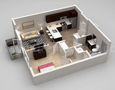 3d Modern Floorplans Models With Different Views Houseplans Rumah Studio Ide Apartemen Desain Interior Modern