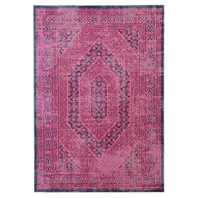 Magenta Loomed Distressed Modern Rug Pink Rugs In