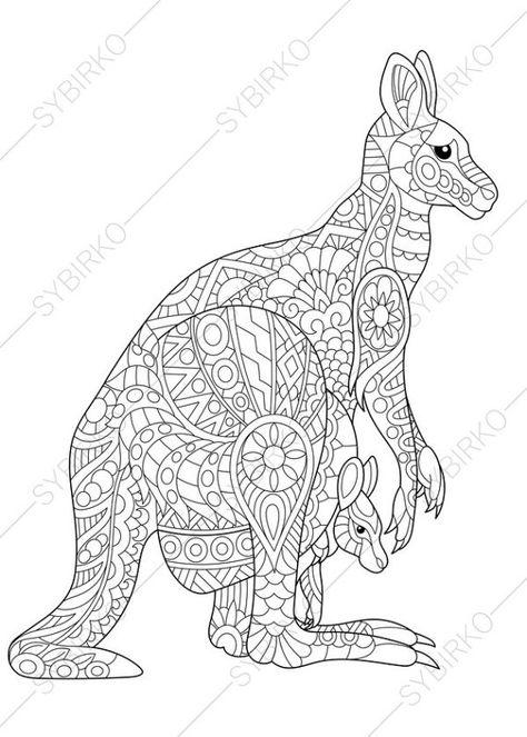 Coloriage Mandala Kangourou.Australian Kangaroo Wallaby Family 2 Coloring Pages Animal