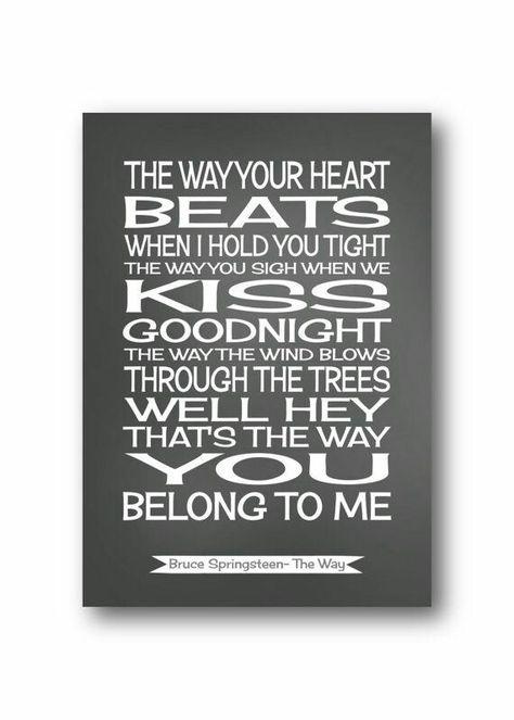 Tunnel of Love Bruce Springsteen Song Lyrics Typography Print Poster Artwork