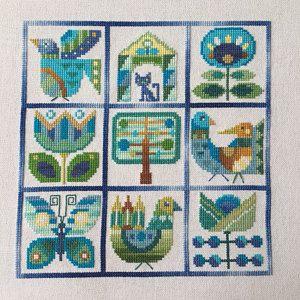 modern cross stitch bell pull pattern Satsuma Street Instant download PDF Folk Flowers