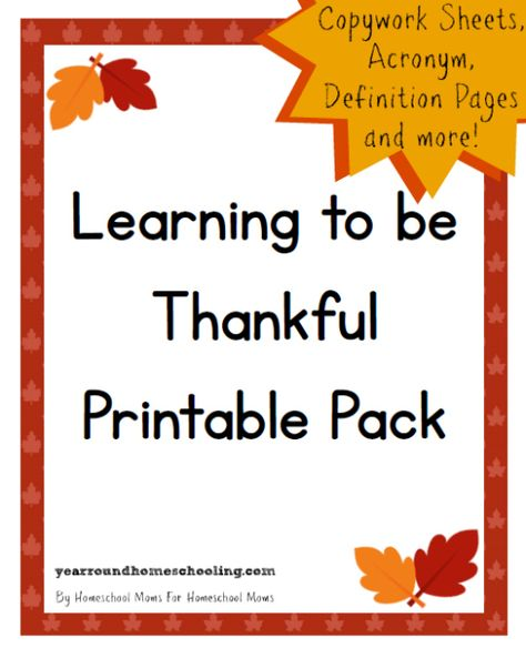FREE Learning to be Thankful Pack