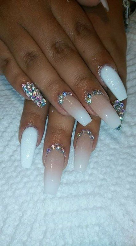 Nails Fake Acrylics Rhinestones 30 Ideas In 2020 Diamond Nail Designs White Acrylic Nails Nails Design With Rhinestones