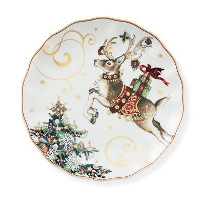 1 New Williams Sonoma Twas Night Before Christmas Reindeer Salad Plate