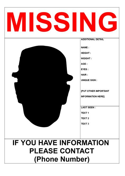 Missing Person Poster Template in A3 Size - Missing Person Poster - missing persons template