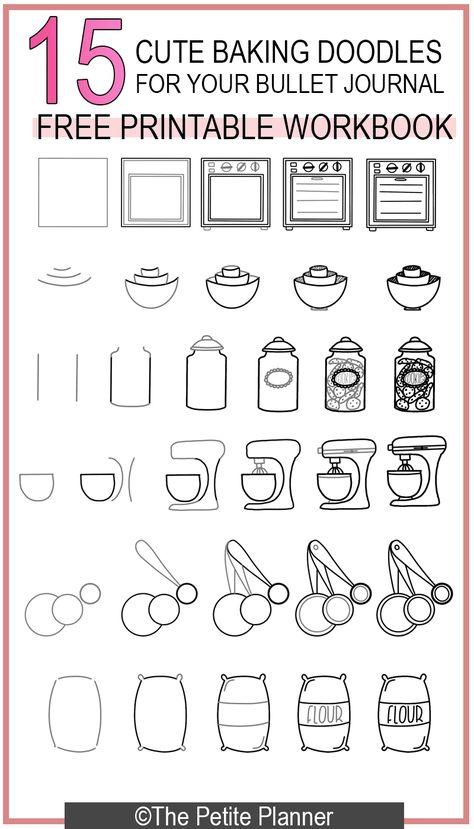 15 Cute Baking Doodles for your Bullet Journal! Free Printable Workbook with step-by-step instructions. #backen #backen kuchen #backen ostern #backen rezepte #backen torten #baking #baking cakes #baking desserts #baking recipes #Bullet #cute #cute baking #Doodles #easy baking #Free #healthy baking #Journal #petite #Planner #Printable #Workbook