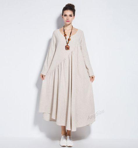 Anysize NEW VERSION with sides seam pockets vogue linen&cotton maxi dress plus…